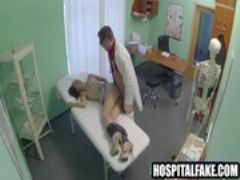 Pint sized brunette patient fucked by her