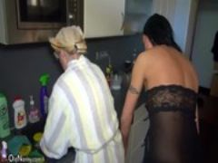 Oldnanny nice threesome young couple is