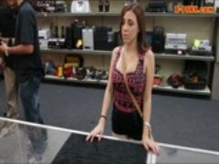 Busty tattooed chick fucked in pawnshops