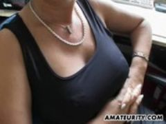 Busty amateur milf sucks and fucks with f