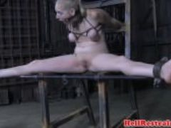Restrained sub caned and dildo fucked