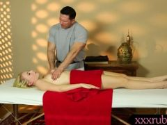 Cute blonde client have massage and banged by her masseur