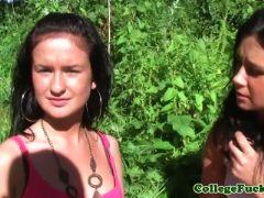 College pornstars ivanka and liana flashing