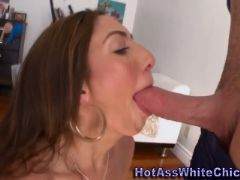 Big butt babe gags on rod