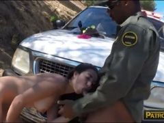 Tight amateur brunette latina fucked by border patrol agent