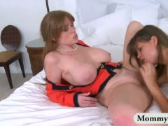 Big tits stepmom enjoyed an amazing threesome sex on the bed
