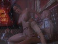 Big tit brunette in heels fucks hardcore in strip