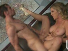 Sexy big tit blonde babe deepthroats
