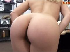 Blonde stripper fucked by nasty pawn guy in the back office