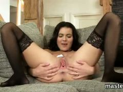 Peculiar czech cutie gapes her juicy crack to the limit