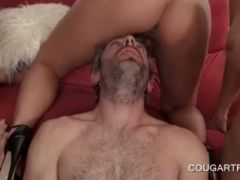 Lucky cougars sharing monster dick in group