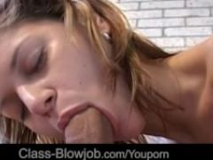Intense blowjob from a young girl with amazing sucking skills