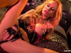 Sexy sarah jessie fingers herself in leather gloves