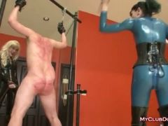Latex loving bitches give a spanking