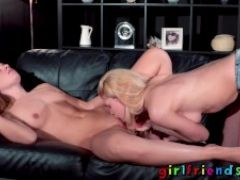 Girlfriends hot babes lesbian couch sex