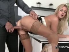 Speechless peach in undies is geeting peed on and fucked