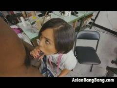 Asian milcah halili sucks black dick in sweat shop pov