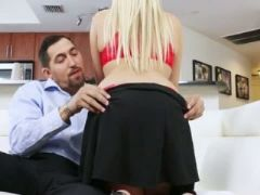 Very excited blonde kimmy gets filled with cum on a couch