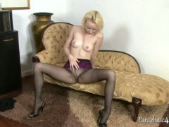 Blonde babe takes everything off