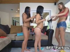 Three teens licking pussy in lingerie