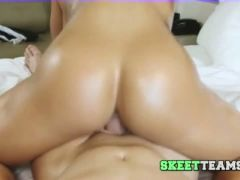 Blonde model lana rides a big cock carefully