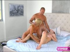 Teen caught milf and her date fucking in the bedroom
