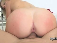 Lovable chick gives blowjob in pov and gets tight hole rode