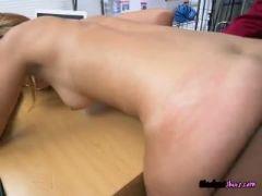 Employee kimberlee gets bent over by boss