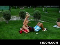 Blond teen is so happy to have her own personal slave
