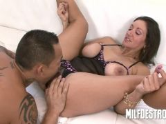Asian playing with big milfs tits