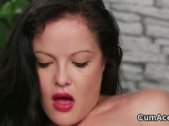 Peculiar peach gets cumshot on her face swallowing all the jizz