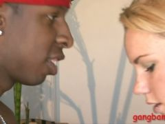 Blonde hair babe dped by big black boners on the couch
