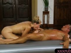 Nasty client fucked his sexy blonde masseuse in her ass