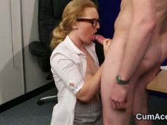 Flirty beauty gets cumshot on her face swallowing all the jism