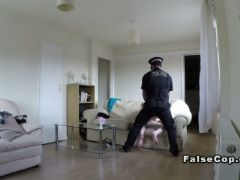 Fake cop bangs natural busty blonde