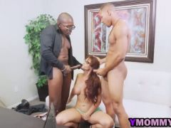 Milf gives two epic blowjobs after getting penetrated by two black guy