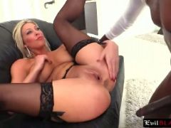 Busty blonde milf is up for some anal challenge by a big black cock