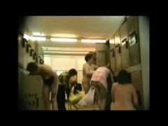 Naked housewives spied in a locker room