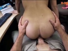 Coed with glasses pounded by pawn dude in his pawnshop
