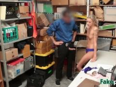 Blonde shoplifter sucking doggy style big cock
