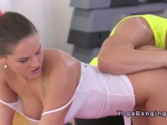 Fitness coach fingers and fucks busty babe