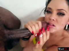 Petite latina with hot shy booty sucks off monster black cock