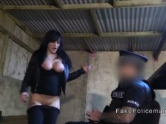 Fake cop caught and bangs busty robber