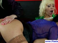 Glam pissing lesbo toying pussy in trio