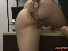 Busty blonde babe gets her twat screwed by pawn keeper