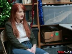 Redhead teen shop thief caught and fucked by security