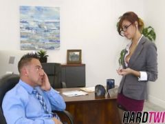 My hot boss sucks and rides my dick in her office