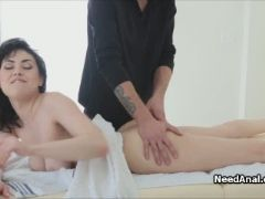 Exotic babe on butt sex massage