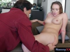 Sexy blonde nanny takes care of big hard cock on the couch