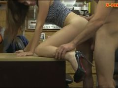 Pretty babe screwed by pervert pawn man at the pawnshop